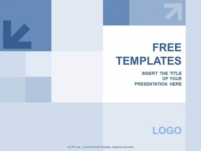 blue squares and aroww powerpoint templates design