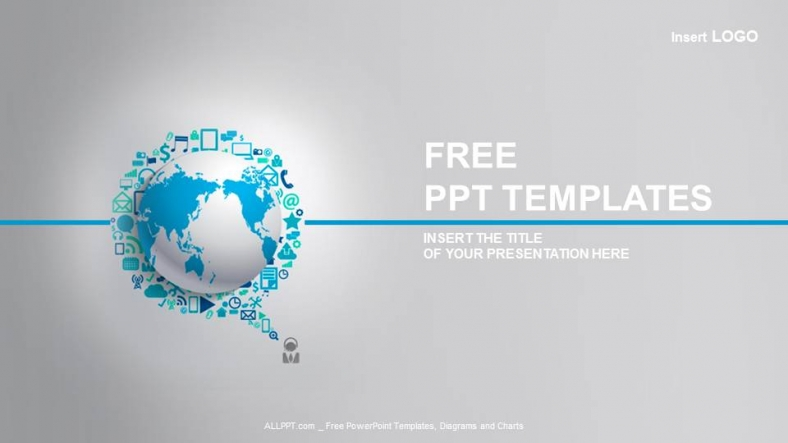 World globe with app icon business ppt templates wajeb Images