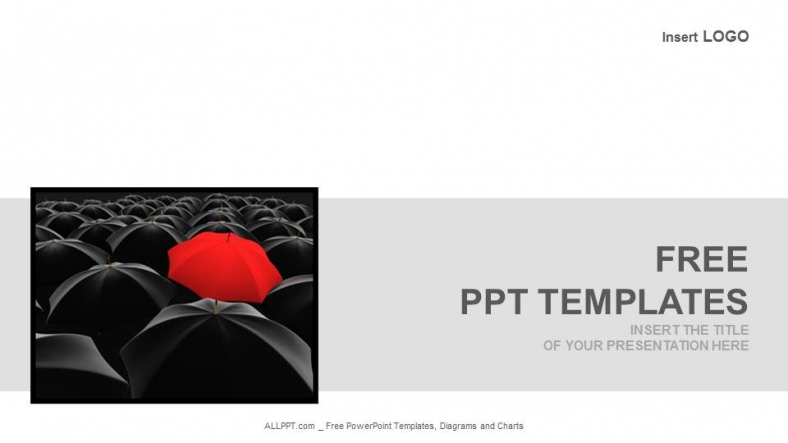 Red Umbrella Among Black Business Powerpoint Templates