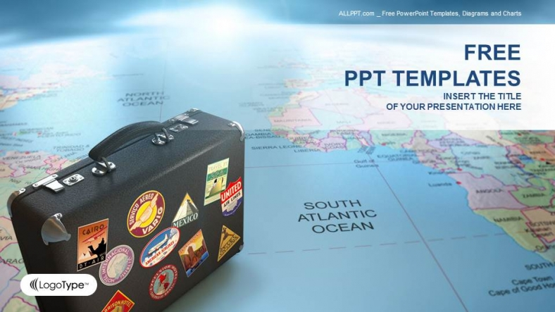 Suitcase on globe map business ppt templates toneelgroepblik Choice Image