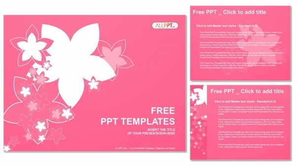 nature with of pink flowers powerpoint templates