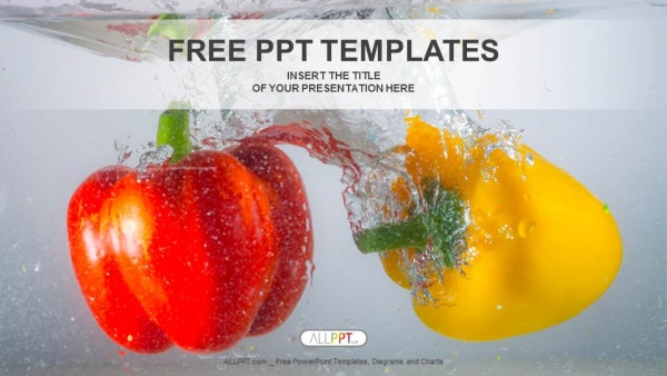 Free food powerpoint templates design red and yellow paprika peppers in water powerpoint templates toneelgroepblik Images
