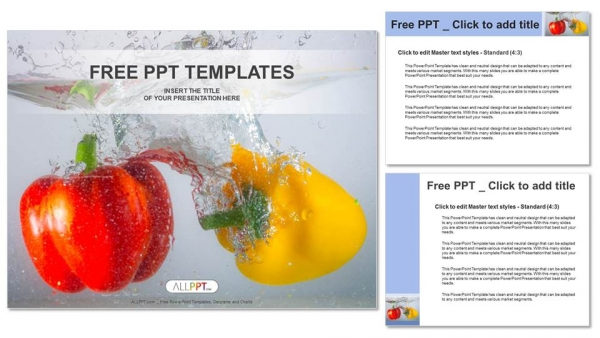 Red and yellow paprika peppers in water PowerPoint Templates (4)