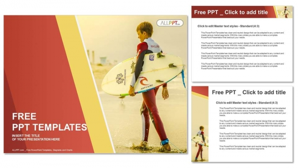 Surfer holding a Surf Board-Sports PowerPoint Templates (4)