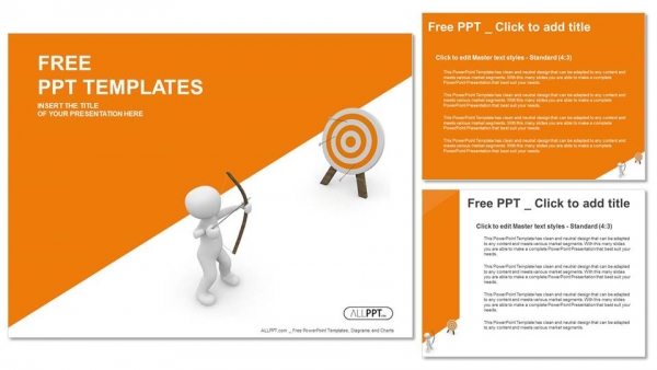Guy hitting the target with his bow and arrow PowerPoint Templates (4)