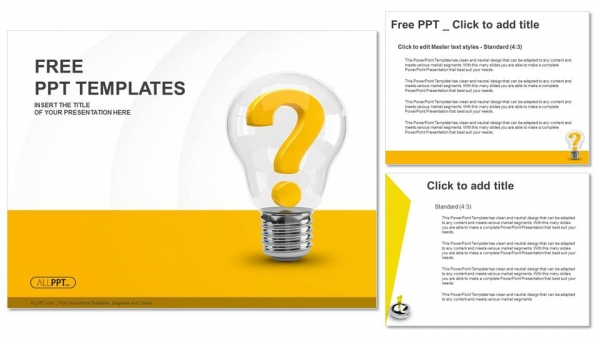 light bulb with question mark as idea and solution symbol powerpoint
