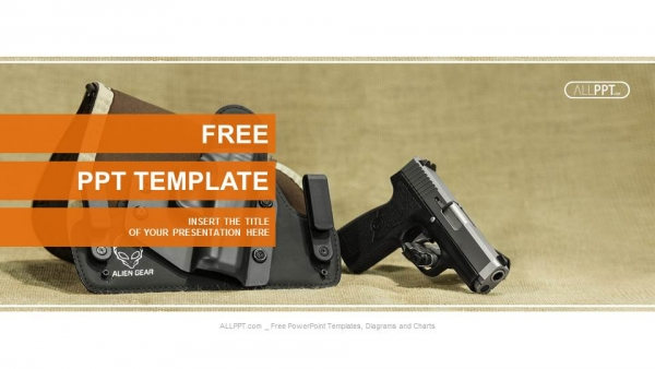 The automatic pistol stand about holster black color PowerPoint Templates (1)