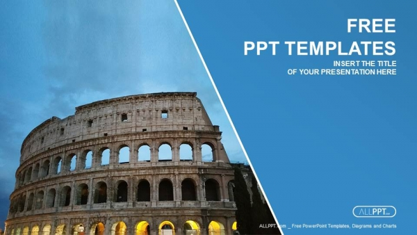 Free travel powerpoint templates design beautiful view of famous ancient colosseum powerpoint templates toneelgroepblik Image collections