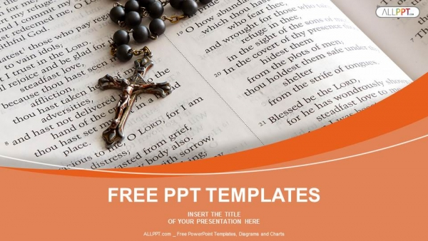 Black Bead Rosary In Open Bible Powerpoint Templates