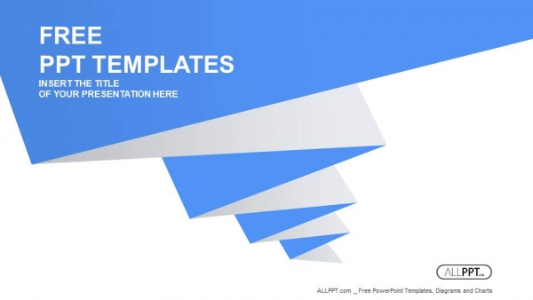 Blue Pleated Shape On The White Background Powerpoint Templates