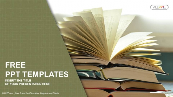 Book Powerpoint Template | Composition With Vintage Old Hardback Books Powerpoint Templates