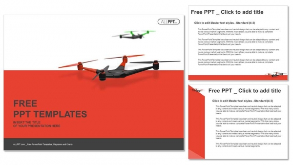 Flying drone quadrocopter powerpoint templates quadrocopter powerpoint templates 4 toneelgroepblik Choice Image