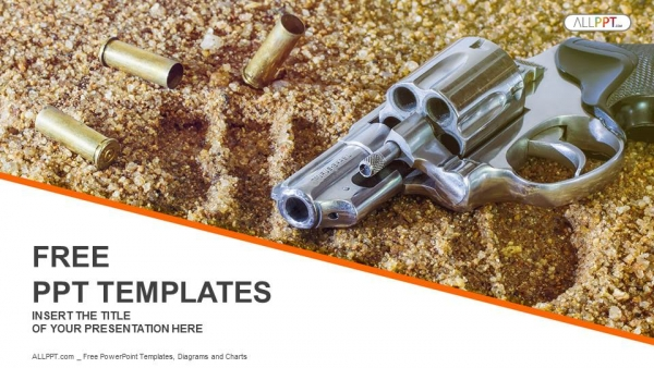 Free military powerpoint templates design handgun and bullets isolated on sand background powerpoint templates toneelgroepblik Choice Image