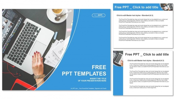 Notebook Laptop And Coffee Cup On Black Table Powerpoint Templates