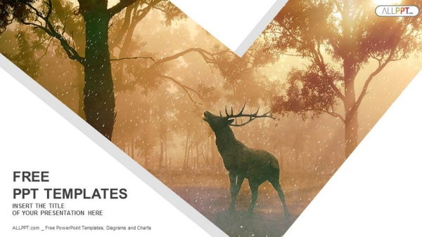 Wild forest landscape of a red deer in the mist PowerPoint Templates