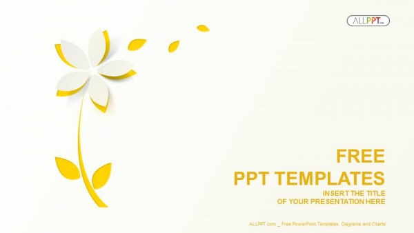 yellow cutout paper flower powerpoint templates 1