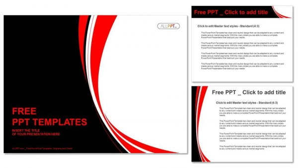 Powerpoint Templates Red | Abstract Red And Black Wavy Background Powerpoint Template