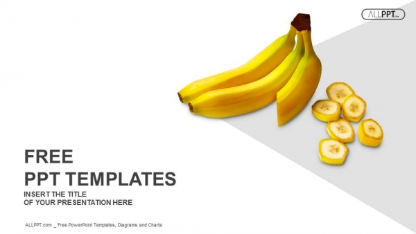 bananas whole and sliced on white background powerpoint templates