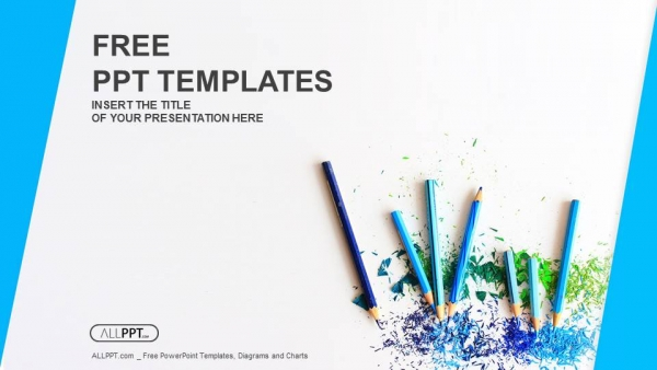 colour pencils with sharpening shavings powerpoint templates 1
