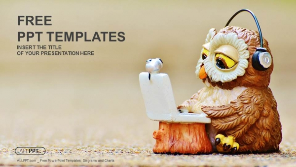 Free computers powerpoint template design owl reads the information on the laptop powerpoint template toneelgroepblik