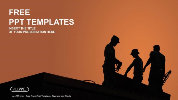 Free industry powerpoint templates design silhouette of construction worker powerpoint templates toneelgroepblik Images