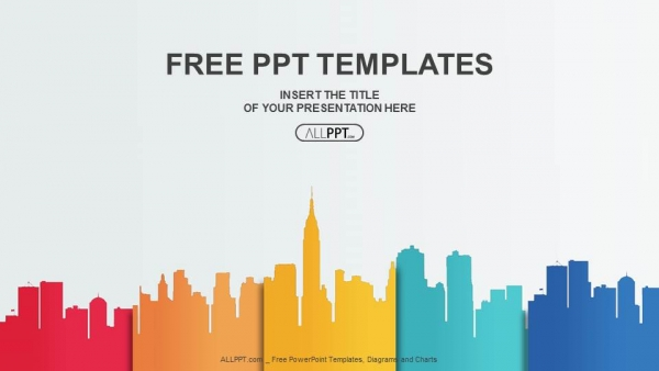 Free business powerpoint templates design city buildings silhouettes and colors powerpoint templates cheaphphosting Images