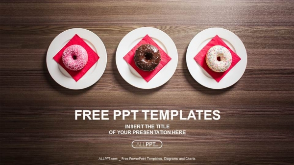 Free food powerpoint templates design colorful donuts on the plate powerpoint templates toneelgroepblik Choice Image