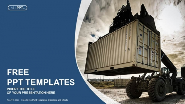 Free blue concept powerpoint templates design forklift handling the container box powerpoint templates toneelgroepblik Gallery