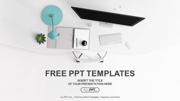 Free powerpoint templates top view of office supplies on table powerpoint templates cheaphphosting