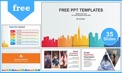 Free business powerpoint templates design city buildings business powerpoint template cheaphphosting