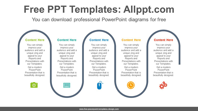 five flow process powerpoint diagram template