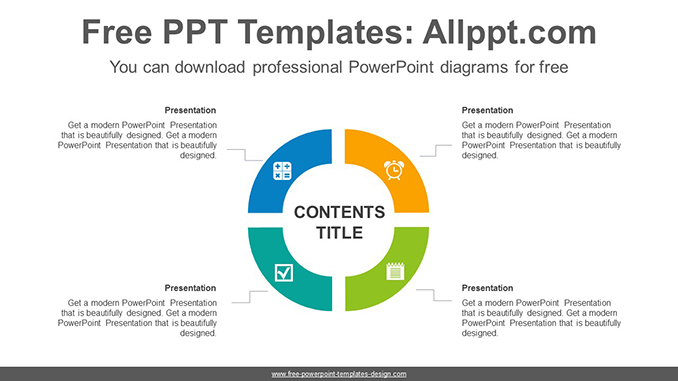 4 part circle ring powerpoint diagram template