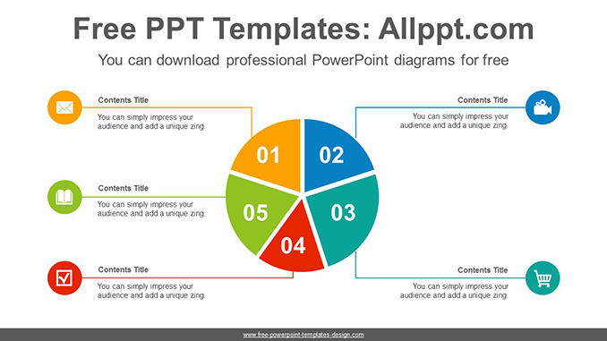 5 split pie chart powerpoint diagram template
