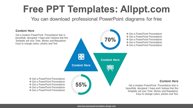 reverse facing triangle powerpoint diagram template post image
