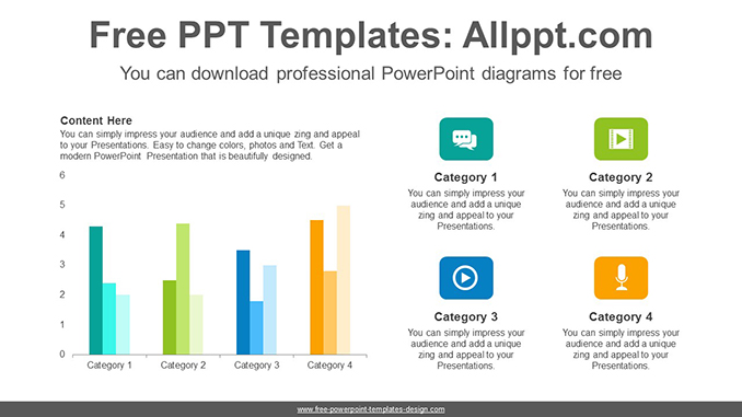 vertical clustered bar chart powerpoint diagram template