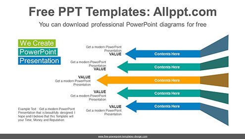 Free powerpoint flow and process diagrams bend arrows flow powerpoint diagram template list image toneelgroepblik