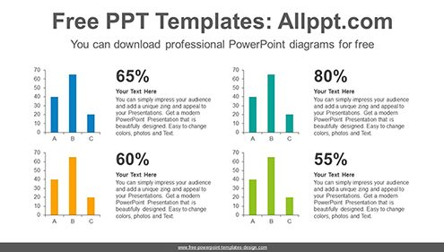 Four Vertical Bar Chart PowerPoint Diagram Template Image