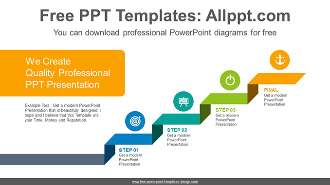 Ribbon stair PowerPoint Diagram Template
