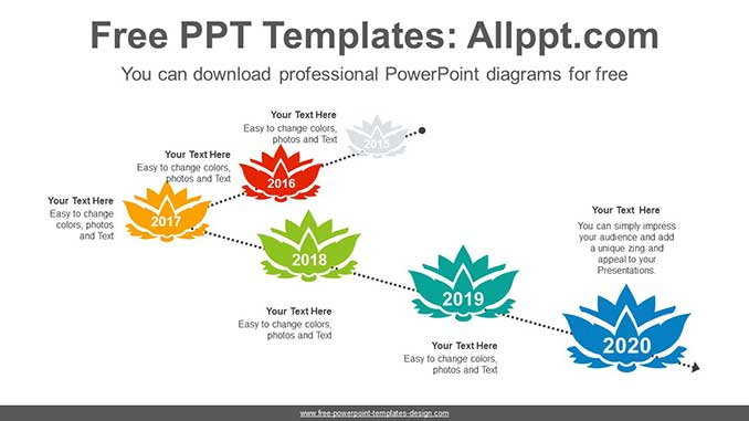 Lotus Above Dotted Line PowerPoint Diagram for free